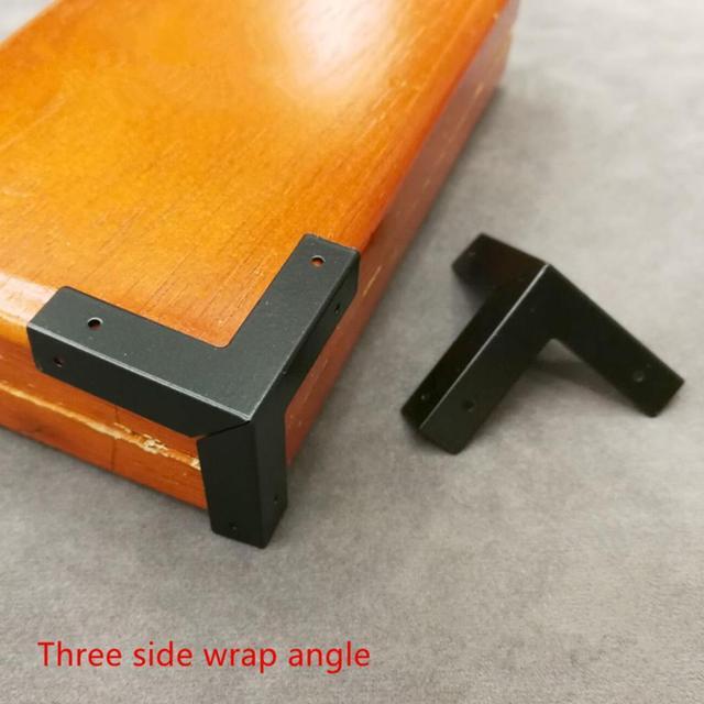 8PCS rectangular square angle copper corner Chinese furniture spray paint black accessories three sided coffin box corner flower