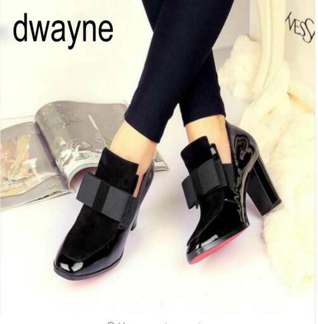 815abfd3efd US $37.49 29% OFF New 100% Red Bottom Sole High Heels Pumps Square Toe  Genuine Leather Shoes Women Ladies Black Sexy Chaussure Femme Boots 55-in  Ankle ...