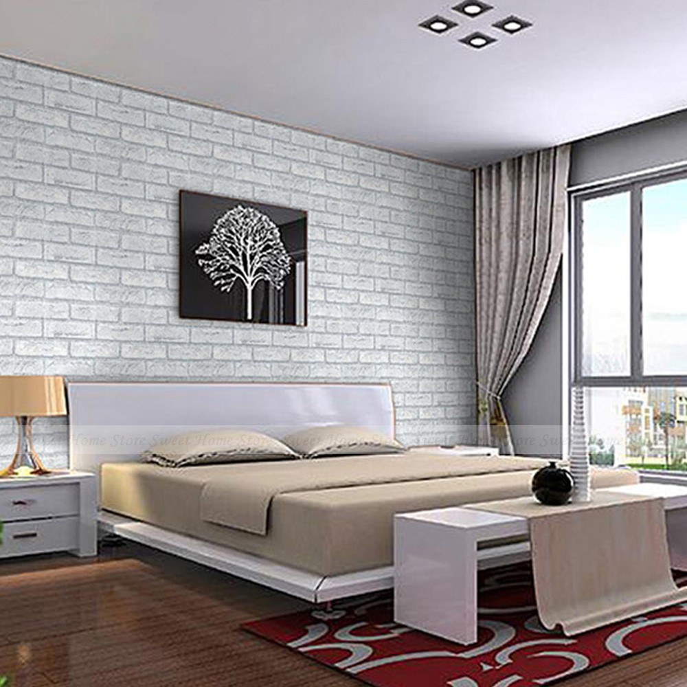 Yazi 45CMx10M Modern Wallpaper Bedroom Mural Roll White Stone Brick Wall  Background Art Wall Sticker Decal  In Wall Stickers From Home U0026 Garden On  ...
