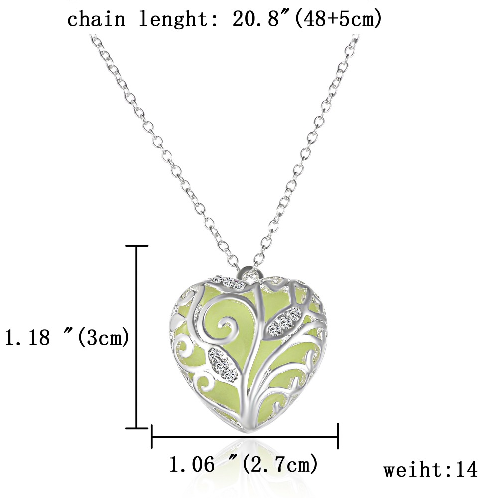 Nuevo collar Glow In The Dark Chocker Locket Silver Hollow Colgante - Bisutería - foto 6