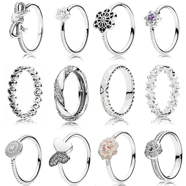 Anéis de natal coleção 925 esterlina anéis de prata para as mulheres estrelas e corações de amor Anel anillos belas Memnon jóias de prata set