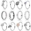 Colección de anillos 925 anillos de plata esterlina de navidad para las mujeres estrellas y corazones Del amor Del Anillo anillos de plata fina Memnon joyería conjunto