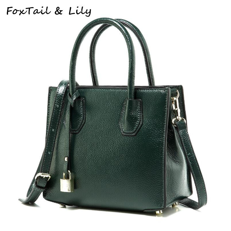 FoxTail & Lily Lock Design Woman Tote Bag Genuine Leather Small Handbags Female Shoulder Bags Fashion Women Messenger Bags Soft soft cowhide genuine leather women shoulder bags fashion handbags simple european style boston messenger bag pillow female packs