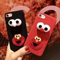Cute Cartoon Sesame Street Elmo Cookie Monsters soft silicon phone cases for iphone 6 6s 7 plus plush Handmade couple Back cover