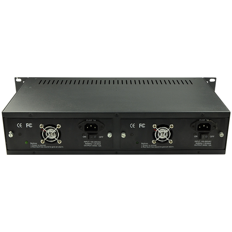 2U 14 Slots 19 Inch Rack Mount Chassis, Double Power Supply Fiber Optical Media Converter Chassis, Media Converter Rack Mount