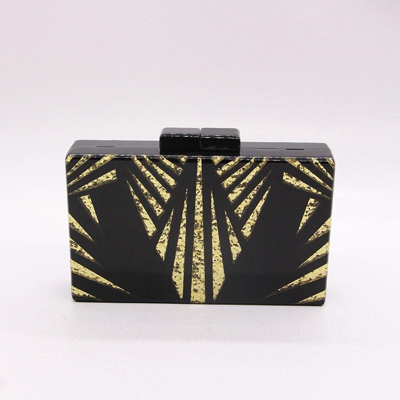 Black gold glitter Women Clutch 3
