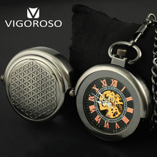 VIGOROSO Grey Steel Special Designer Steel Hide Carved Mechanical Pocket Watch Steampunk Hand-winding Vintage FOB&Pocket Watches