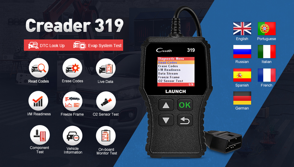 HTB15uXna0zvK1RkSnfoq6zMwVXag Launch X431 Creader 319 CR3001 Full OBD2 OBDII Code Reader Scan Tools OBD 2 CR319 Car Diagnostic tool PK AD310 ELM327 Scanner