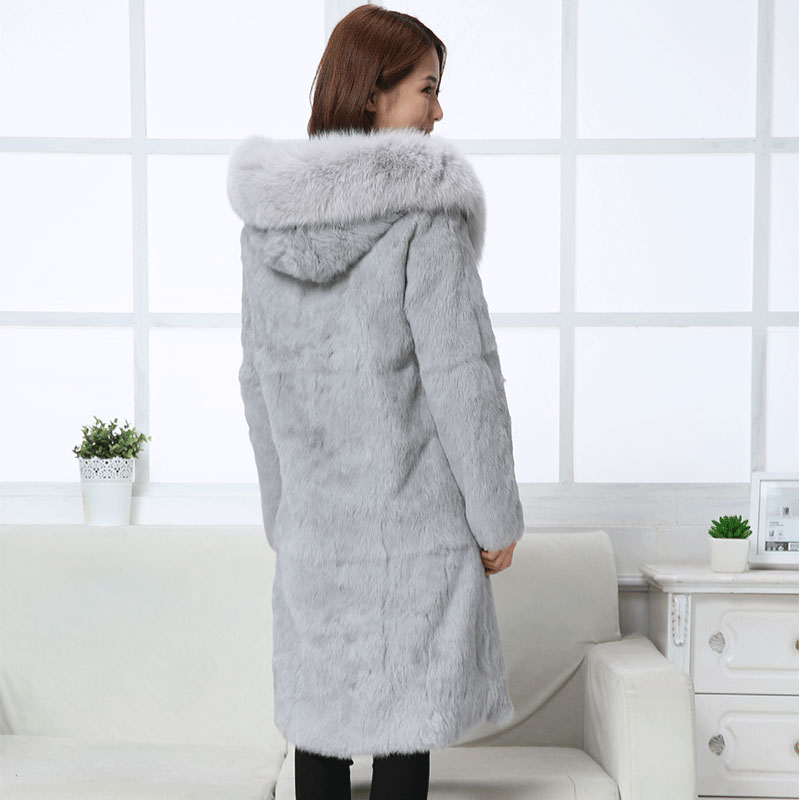 90 cm long natural rabbit fur coat women real fur jacket with genuine fox fur collar hooded new 2019 autumn winter plus size image