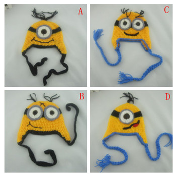 0-3M Baby earmuffs manual wool hat lovely yellow one cartoon eaves beanie 4 color wool hat w mask yellow grey