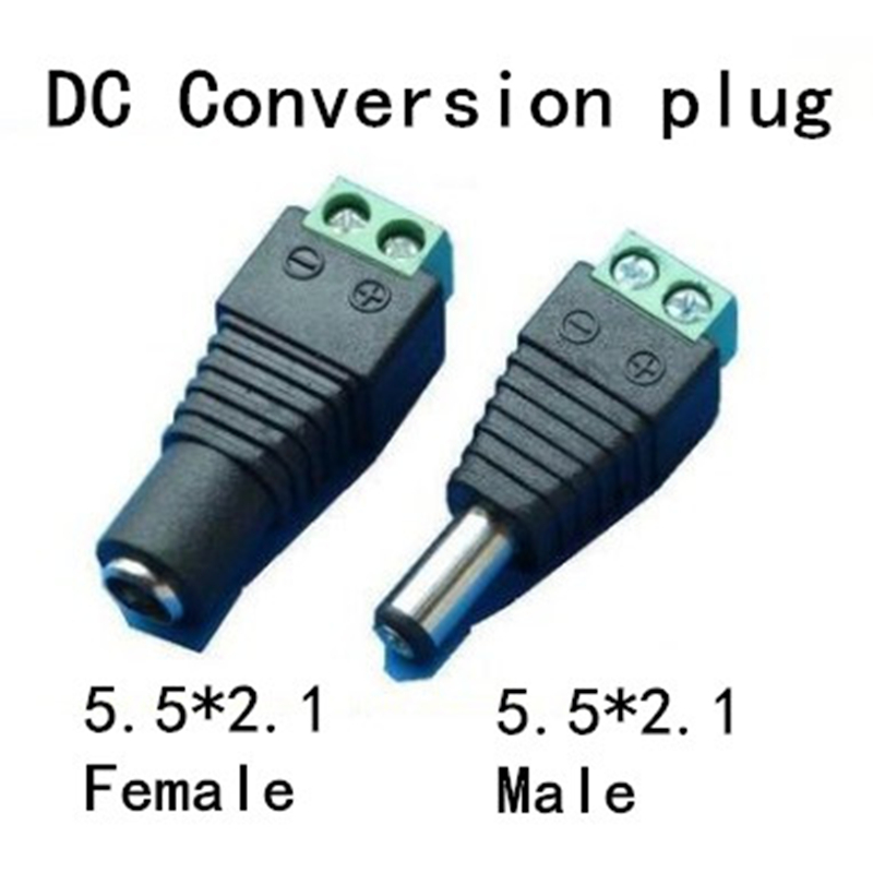 2pcs 5.5mm X 2.1mm Female Or Male DC Power Plug Adapter For 5050 3528 5060 Single Color LED Strip And CCTV Cameras