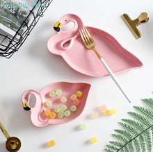 Creative Flamingo Ceramic Cutlery Plate Snack Dessert Fruit Tableware Gift