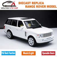 1:24 Diecast RangeRover Scale Models Car Metal Toys Collection With Sound/Light/Pull Back Function For Children/Boys As Gift