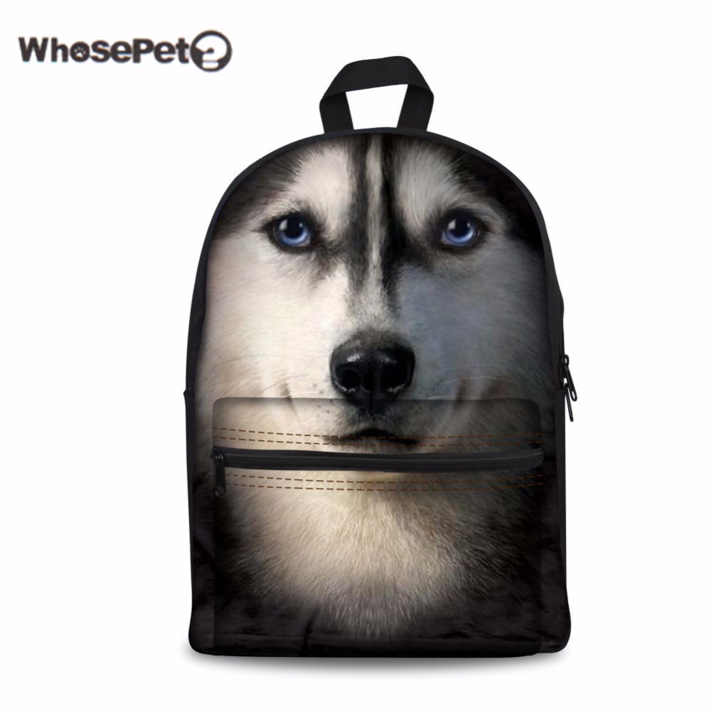 WHOSEPET Husky Rucksack Women School Book Bag Poodle Cool Pet Dog Print Schoolbag Hot Sale Day Back Pack Funny Mochila Escolar