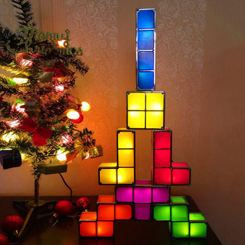 Original Tetris Stackable LED Desk Lamp Novelty Tetris Light Retro