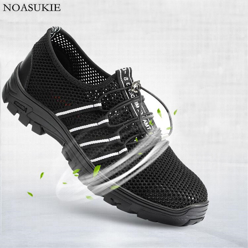Summer Breathable Mesh Safety Shoes Of Men Lightweight Tenis Sneakers Work Shoes Anti Smashing Puncture Steel Toe Shoes 37 46 in Work Safety Boots from Shoes