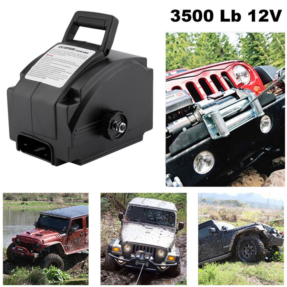 Professional 3500 Lb 12V Wire Rope Electric Boat Winch Motor Winch With Remote Control Powerful Accessories Ship From DE