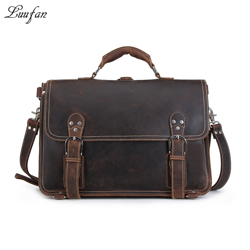Men s Vintage crazy horse leather briefcase 15 PC high quality genuine leather laptop rucksack Real