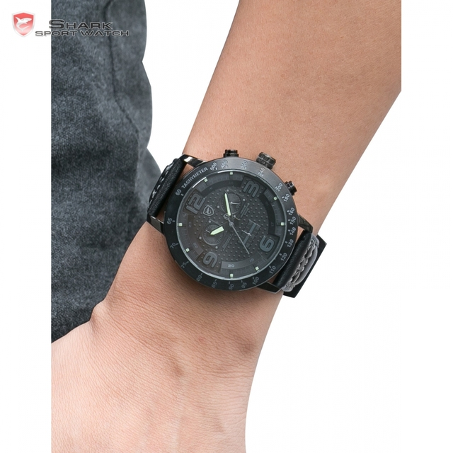 Sport Chronograph Genuine Leather Strap Watch 3
