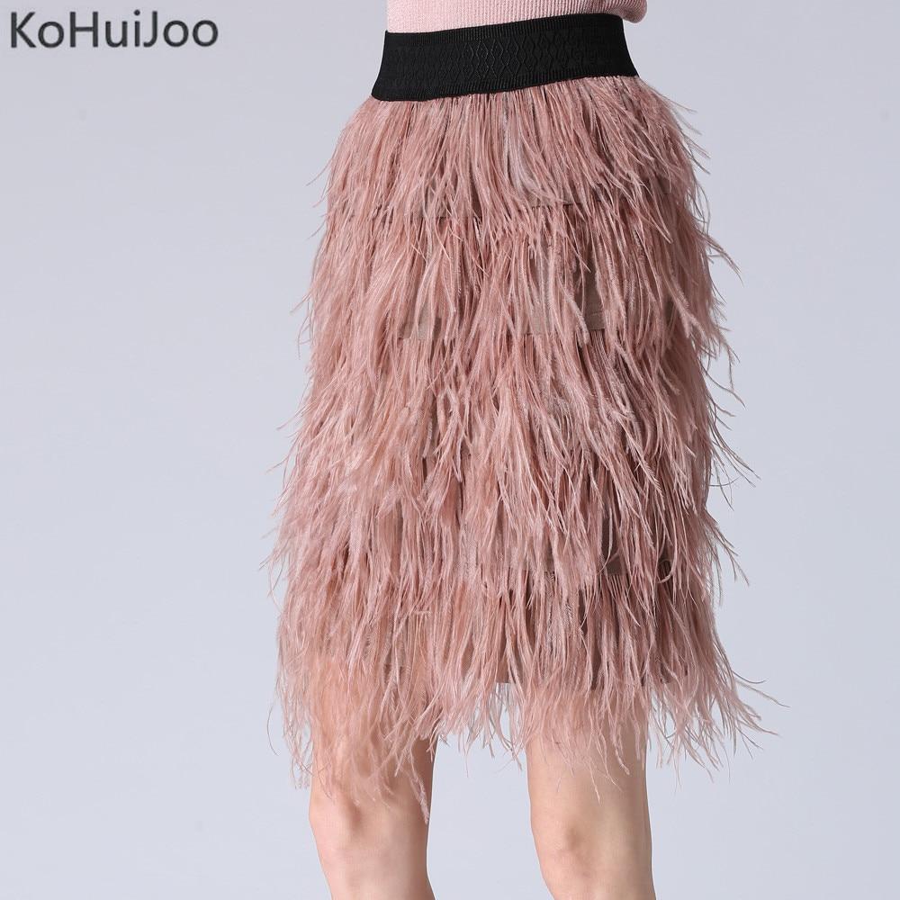 2018 Spring Autumn Fluffy Skirts for Women Fashion Elastic Waist Ostrich Feather Skirt High Waist Pencil Skirt Tassel Blue Pink