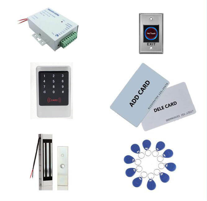 Access control kit ,metal access control anti-hit + power+ 180kg magnetic lock+exit button+10 keyfob ID tags,sn:Tset-3Access control kit ,metal access control anti-hit + power+ 180kg magnetic lock+exit button+10 keyfob ID tags,sn:Tset-3