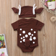 Pudcoco Deer Baby Clothes Infant Baby Boy Girl Cartoon Deer Romper+long ear hat Christmas baby clothes xmas Costume for new year(China)