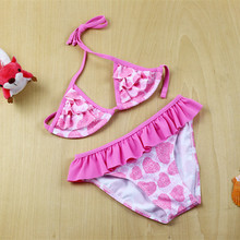 2016 Swim Wear Child Swimwear for Girls biquini infantil baby girl bathing suit kids bikini set children swimming cotume 6-14T недорго, оригинальная цена