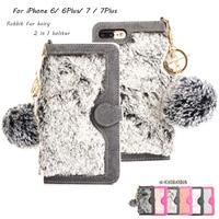 מקרה עבור iphone 7 7 בתוספת פאזי הפרווה שיער ארנב עור + כרטיס חריץ טלפון כיסוי לאייפון 6 מקרה ארנק Flip המגנטי נתיק