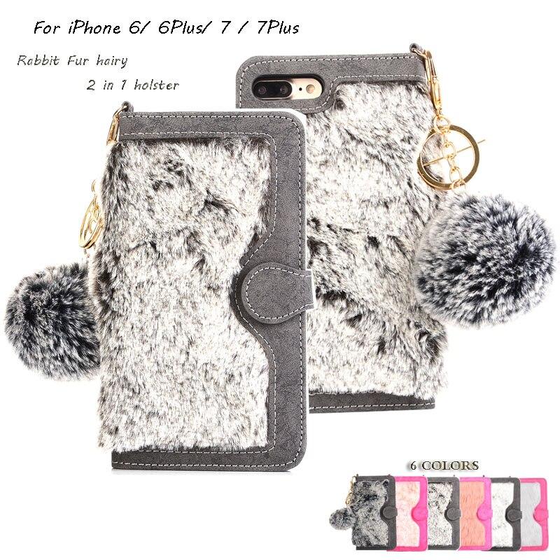 Lapin cheveux Cas Pour iphone 7 7 Plus Fuzzy Fourrure En Cuir + Carte Slot Couverture de Téléphone Pour l'iphone 6 Magnétique Amovible Flip Portefeuille Cas