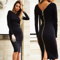 The New Style Knitted Sexy Women Dress Night Club Sheath Dresses Fashion Long Sleeve Zips At The Back Knee-length Vestidos