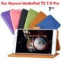 Leather Case For Huawei MediaPad T2 7.0 Pro ПУ Цветок печать Флип Смарт Tablet Случаи Обложка Ультра-Тонкий 7 ''Защитный Стенд Shell