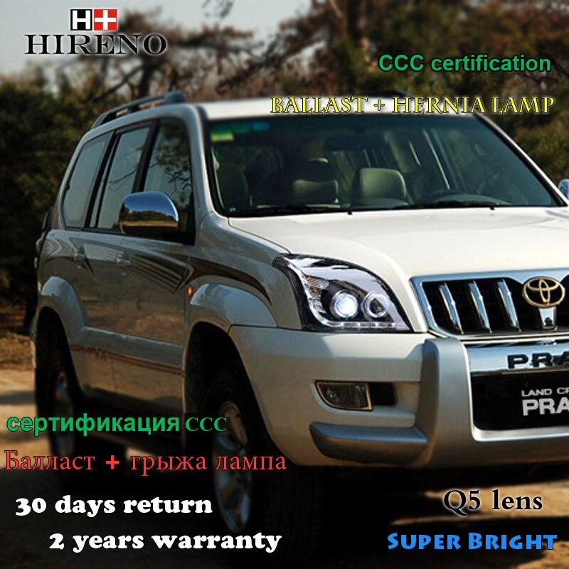 Hireno Estilo Do Carro Farol Para 2003 2009 Toyota Land Cruiser Prado Lente  Conjunto Do Farol LED DRL Anjo Feixe Duplo HID Xenon Em Montagem De Luz Do  Carro ...