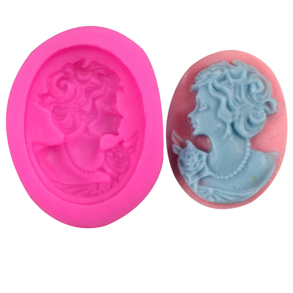 Beauty head Shaped DIY fondant silicone mould form chocolate jelly pastry candy cake cupcake decoration kitchen clay tools F0208