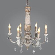 Drewniany żelazny żyrandol Vintage Crystal Lustre wisząca lampa salon kuchnia sypialnia retro loftowa oprawy oświetleniowe