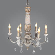 Wooden Iron Chandelier Lighting Vintage Crystal Lustre Pendant Chandelier Living Room Kitchen Bedroom Retro Loft Light Fixtures