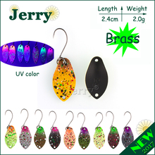 Jerry 1pc 2g wide brass fishing spoons wobbler ultralight fishing lures Japanese matt UV colors lake trout spoons spinners