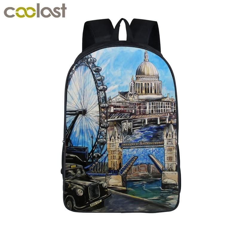 цена  oil painting landscape backpack for women men travel bags boys girls school backpack bags for teenager kid bag student schoolbag  онлайн в 2017 году