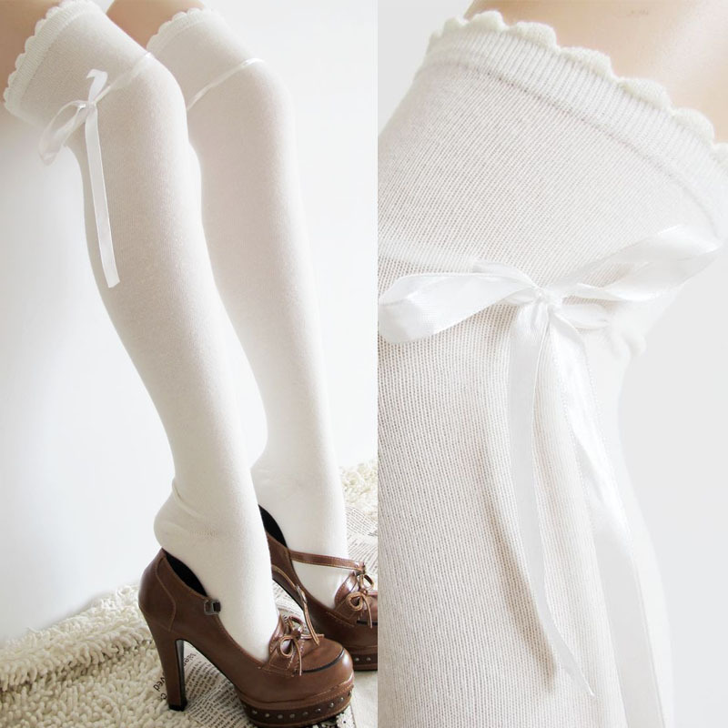 7ff1dbe3a Laciness bow white cosplay over the knee barreled females tockings thigh  high socks for women cotton