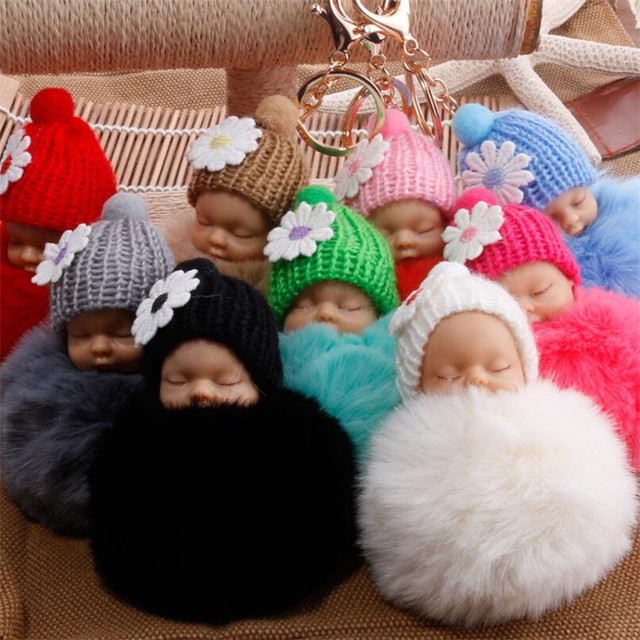 a312618eb0 Lovely Trinket Pom Pom Key Ring Fake Rabbit Fur Keychain Pompom Angel Baby  Girl Fourrure Hat