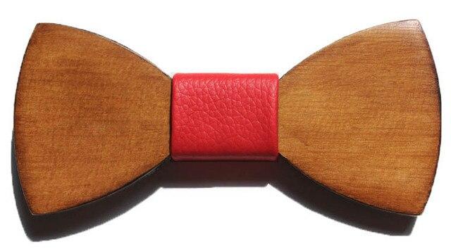 2016 madeira moda papillon gravata borboleta ocasional gravata cavalheiro lazer bowtie couro masculino casamento gravata homem mariage vermelho desgaste do pescoço