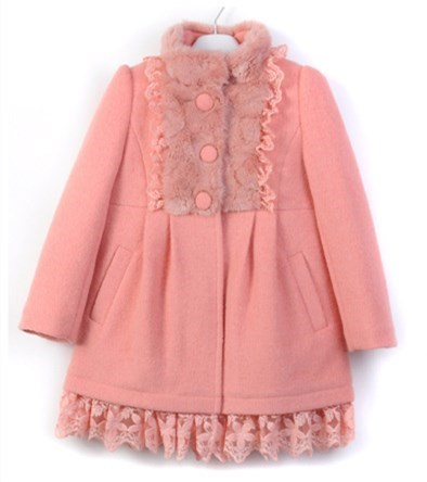 2017 New Thick Red Pink Solid Lace Long Length Girl's Winter Wool Coats For 6,8,10,12,13Y KW-1688 jenni new pink solid ruffled chemise l $39 5 dbfl