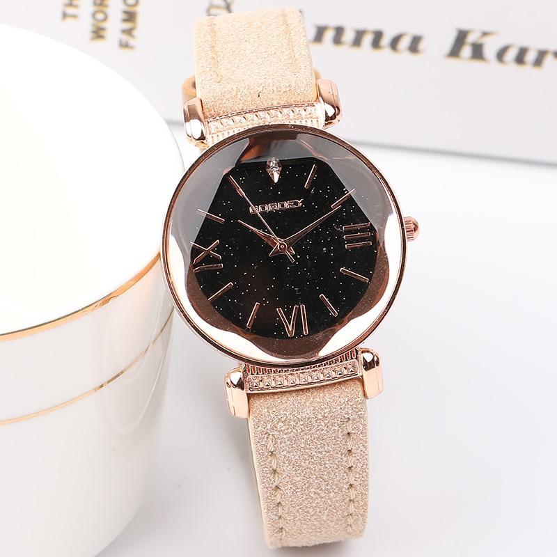 Rose Gold Star Dial Design Leather Strap Quartz Watch 4