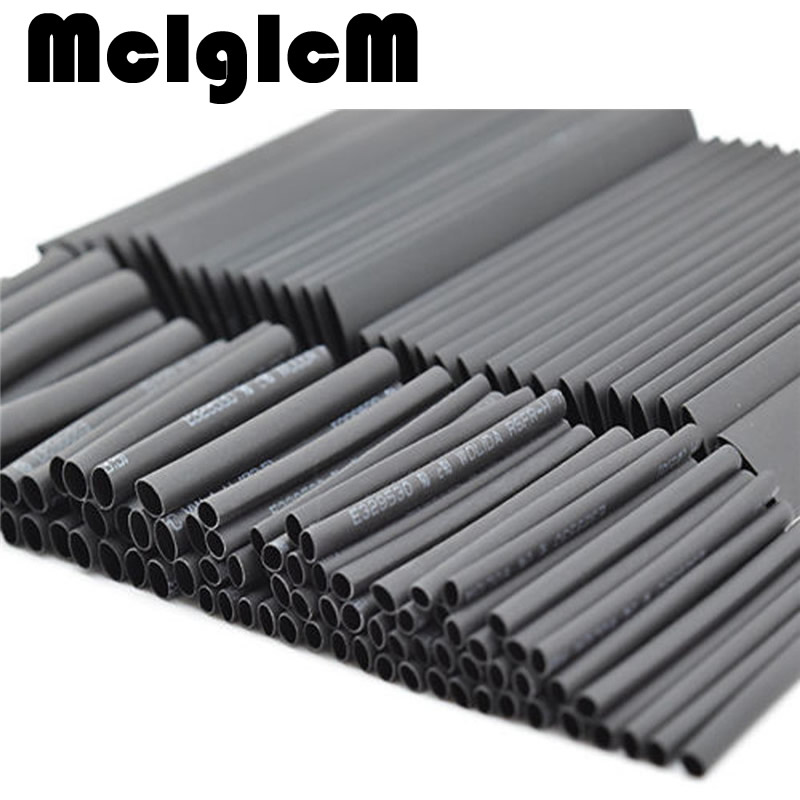 купить 127pcs/lot Heat Shrink Tubing 7.28m 2:1 Black Tube Car Cable Sleeving Assortment Wrap Wire Kit with Polyolefin Tub Free Shipping в интернет-магазине