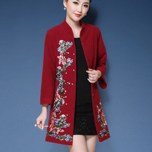 Red Black Vintage Chinese Embroidery Winter Coat Women Trench Plus Size 5XL Woolen For Long Coats 2018 High End