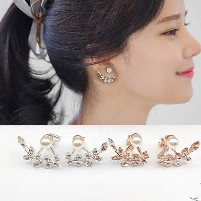 101fe7b92 Grace Jun New Design Cute Leaf Shape Simulated Pearl Clip on Earrings Non  Piercing for Women