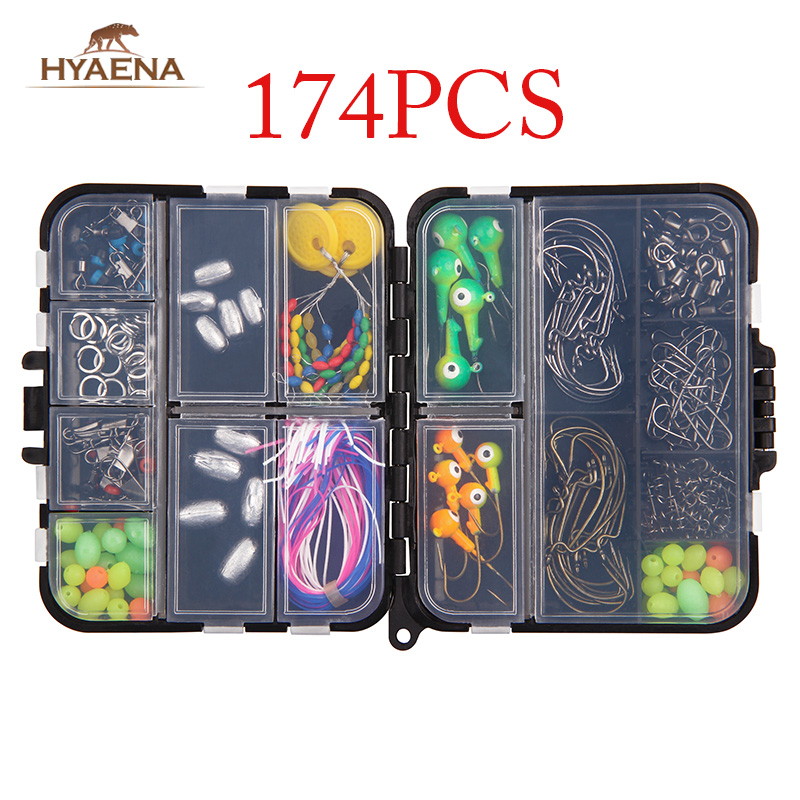Hyaena 174pcs Fishing Tackle Box With Spring Twist Lock Pin Space Bean Rolling Swivels Fishing Gears Tools Lead Sinker(China)