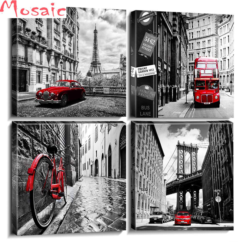 diamond painting cross stitch kitsBlack and White Wall Art City Paris Buildings Red Cars Homes Decorations Set of 4 Pieces