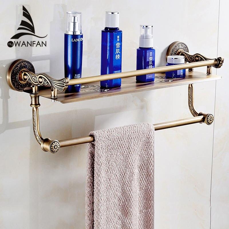 Полки ванной 2 слоя, вешалка для полотенец душ корзина для хранения Ванна Полка Настенная латунь аксессуары для ванной комнаты полотенце Ба...