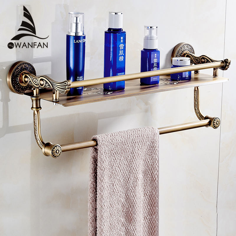 Bathroom Shelves 2 Layers Towel Rack Shower Storage Basket Bath Wall Shelf Brass Bathroom Accessories Towel Bar Hangers SL-7842 whole brass blackend antique ceramic bath towel rack bathroom towel shelf bathroom towel holder antique black double towel shelf