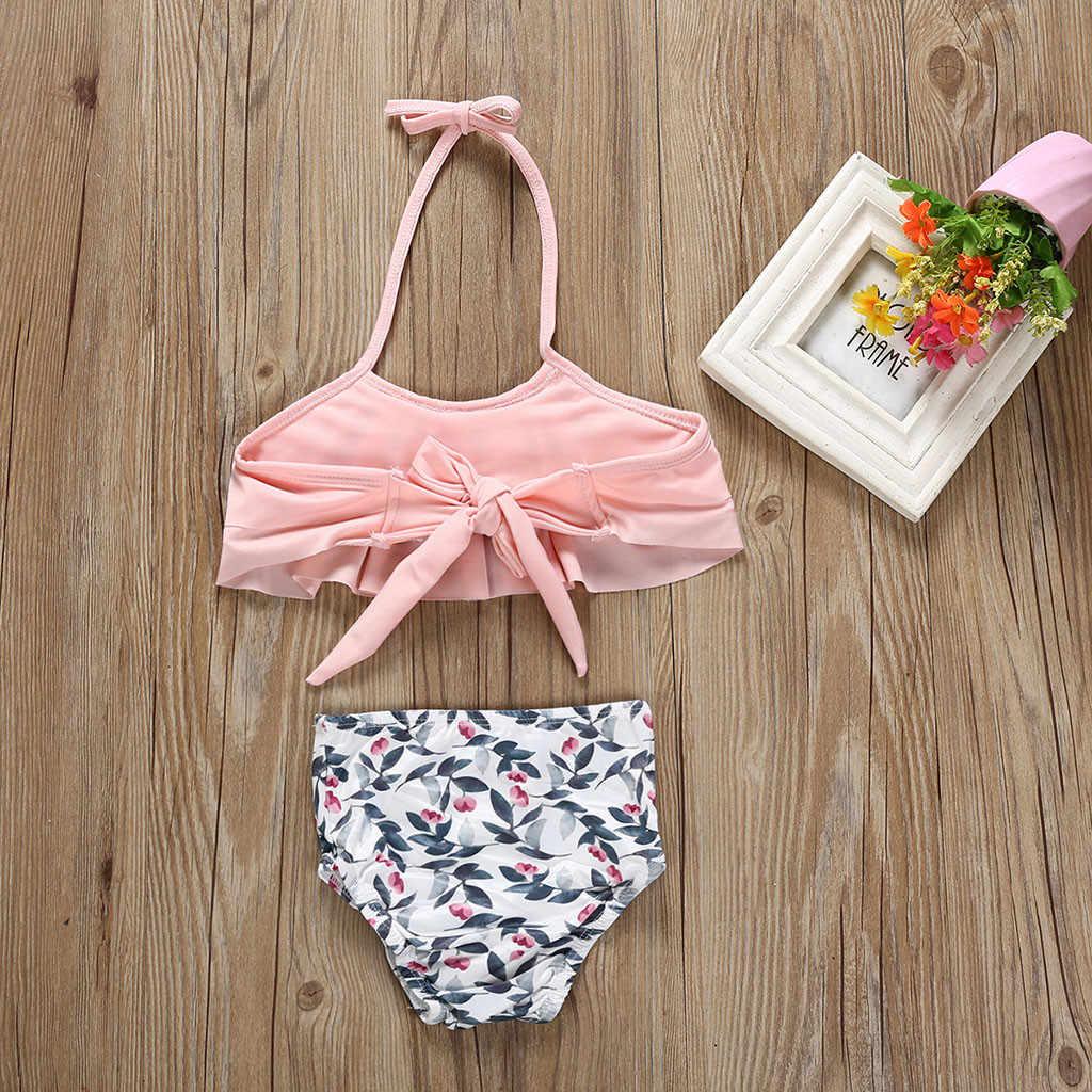 Dzieci dziewczynek liść drukuj kamizelka letnie stroje kąpielowe strój kąpielowy Bikini dwuczęściowy plaża letnie dziewczyny zwemkleding meisjes 2019